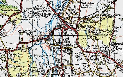 Old map of Uxbridge in 1920