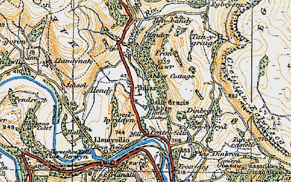Old map of Valle Crucis Abbey in 1921