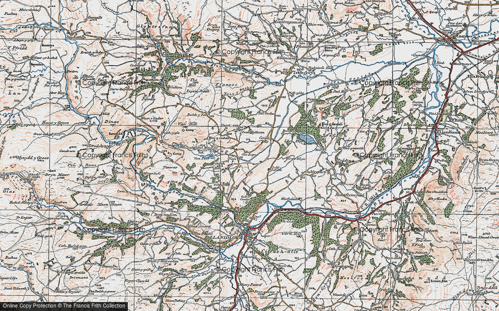 Old Map of Historic Map covering Y Fan in 1921