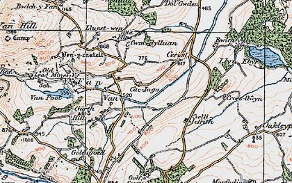Old map of Y Fan in 1921