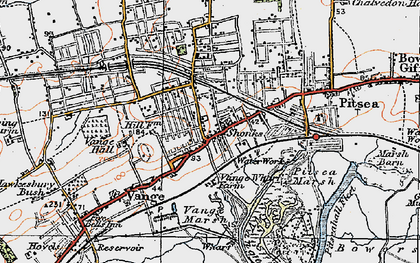 Old map of Vange in 1921