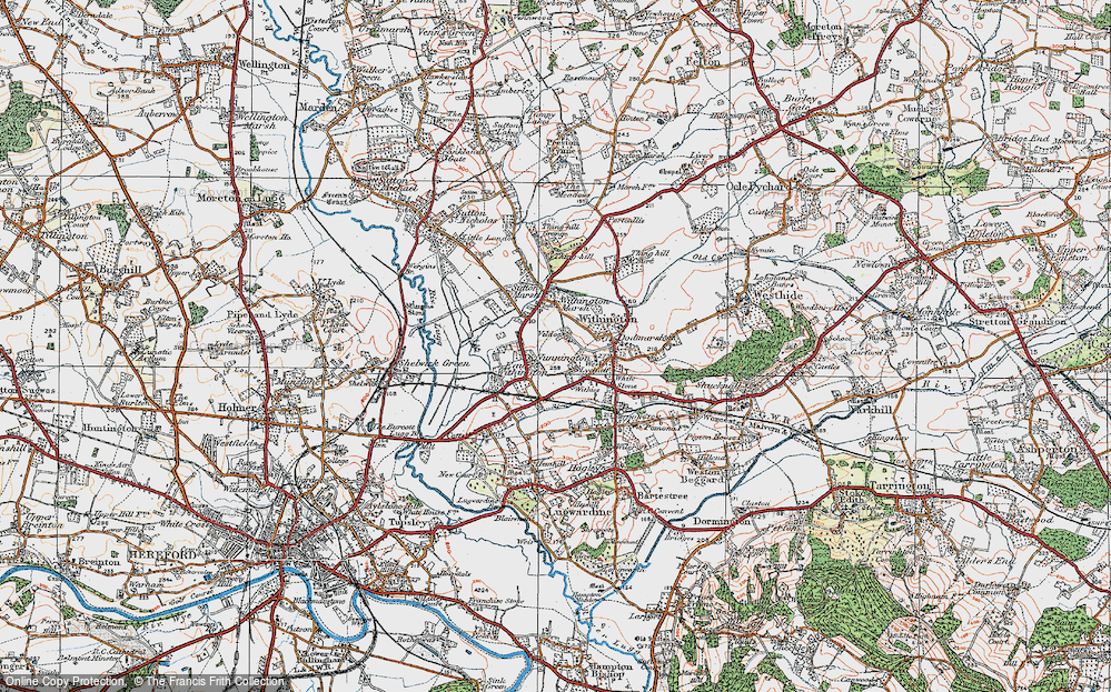 Old Map of Historic Map covering Nunnington in 1920