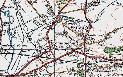 Old map of Nunnington in 1920
