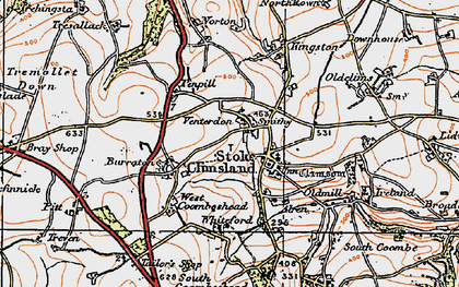 Old map of Venterdon in 1919