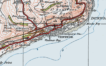 Old map of Ventnor in 1919
