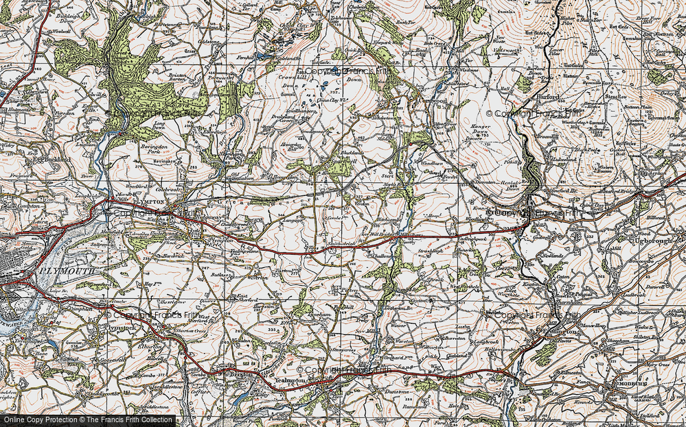 Old Map of Historic Map covering Langage in 1919
