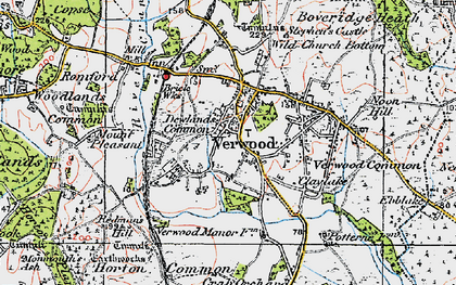 Old map of Verwood in 1919