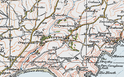 Old map of Veryan in 1919