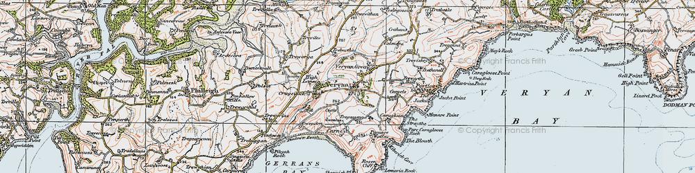 Old map of Veryan in 1919