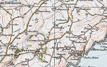 Old map of Veryan Green in 1919