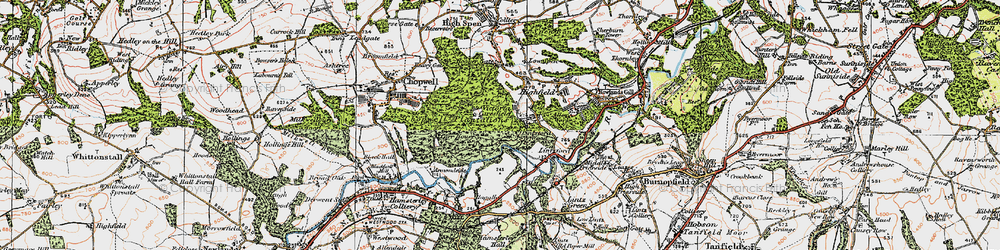 Old map of Victoria Garesfield in 1925