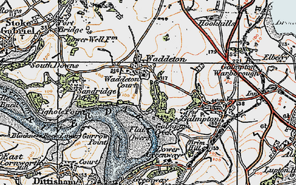 Old map of Waddeton in 1919