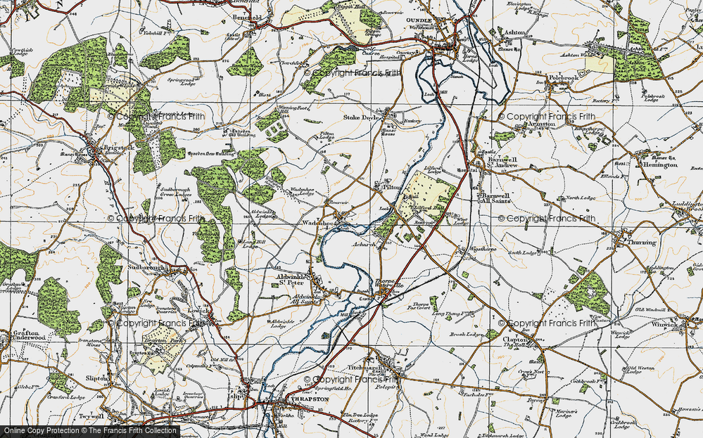 Old Map of Historic Map covering Aldwincle Lodge in 1920