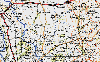 Old map of Waen Goleugoed in 1922