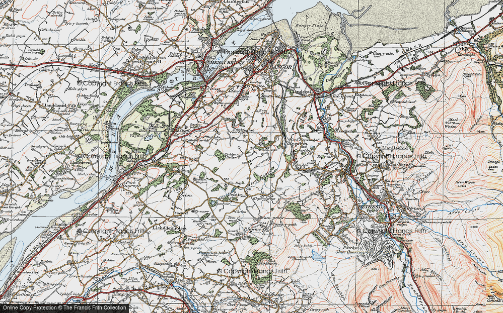 Old Map of Historic Map covering Afon Cegin in 1922