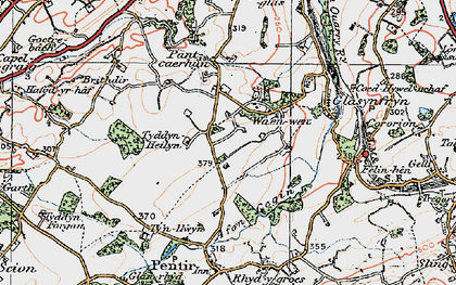 Old map of Afon Cegin in 1922