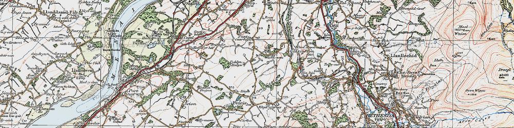 Old map of Afon Cegin in 1922