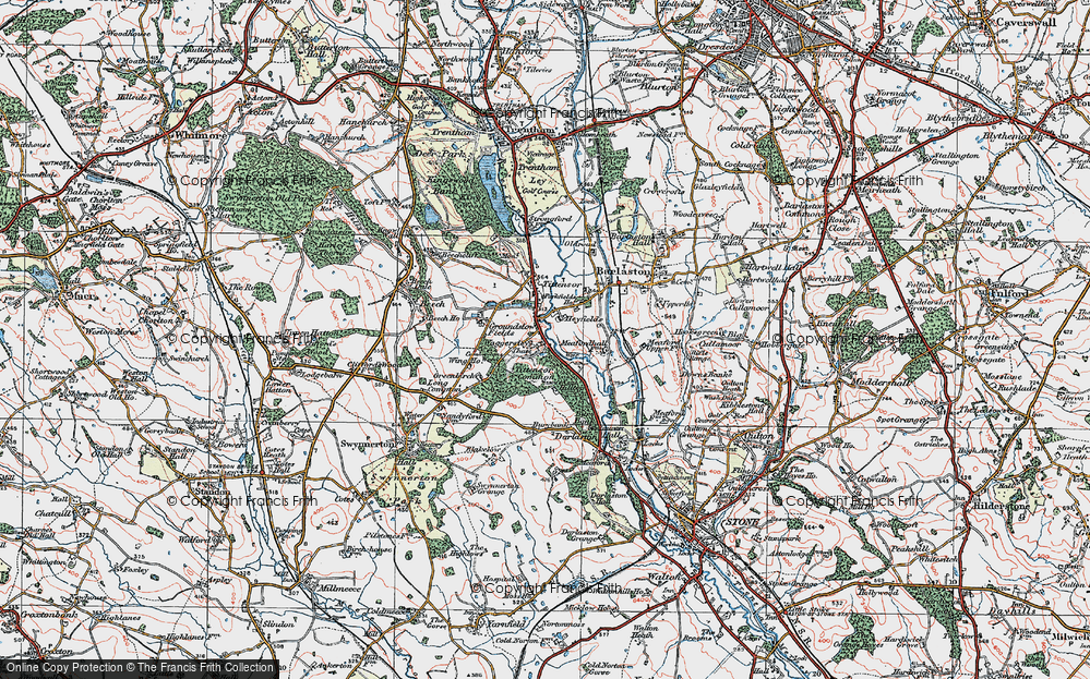 Old Map of Historic Map covering Tittensor Chase in 1921
