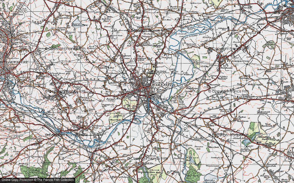 Old Map of Historic Map covering Wakefield in 1925
