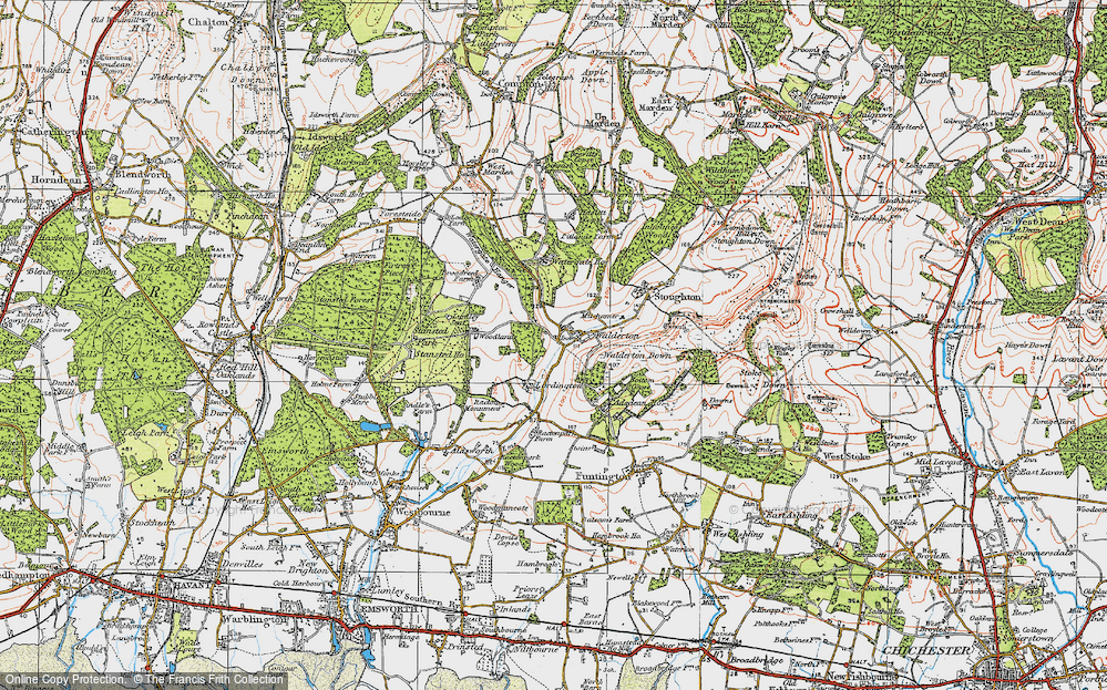 Old Map of Historic Map covering Woodlands Cotts in 1919