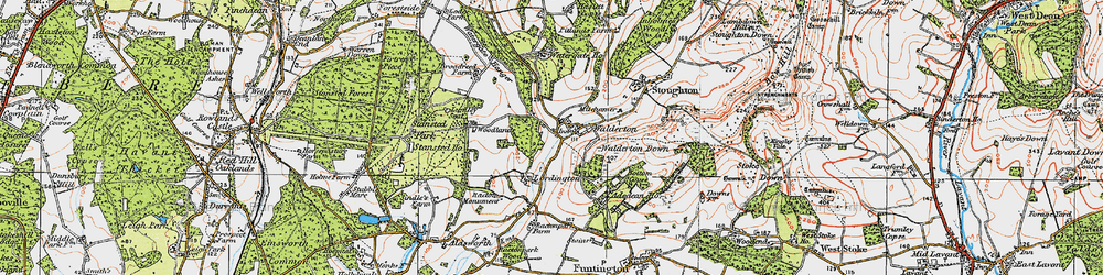 Old map of Woodlands Cotts in 1919