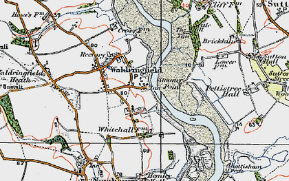 Old map of Waldringfield in 1921