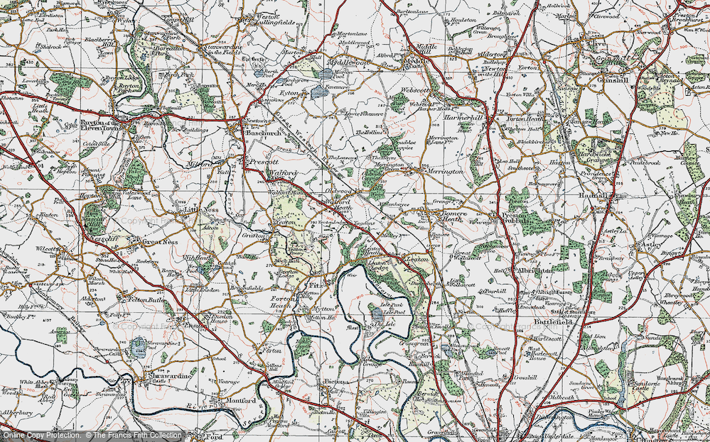 Old Map of Historic Map covering Old Woods in 1921