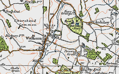 Old map of Walkern in 1919