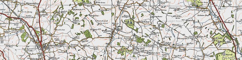 Old map of Walkern in 1919