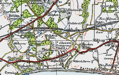 Old map of Walkford in 1919