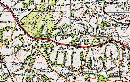 Old map of Wallcrouch in 1920