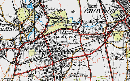 Old map of Wallington in 1920