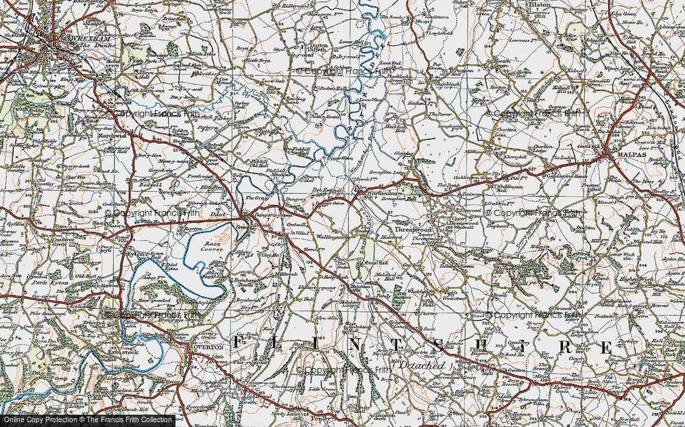 Old Map of Historic Map covering Worthenbury Brook in 1921