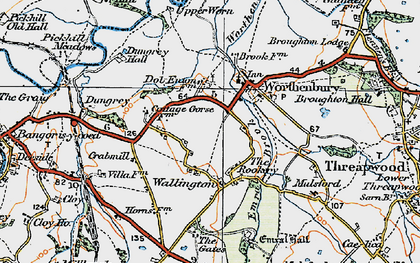 Old map of Worthenbury Brook in 1921