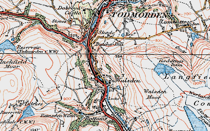 Old map of Walsden in 1925