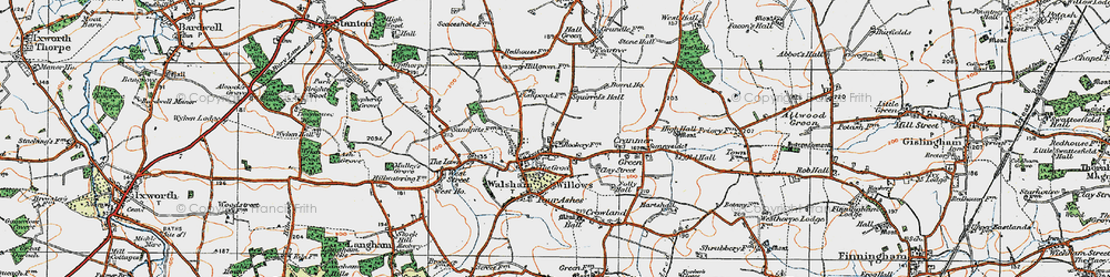 Old map of Walsham Le Willows in 1920