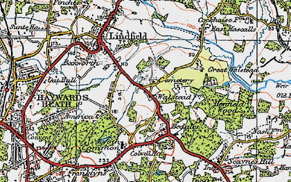 Old map of Awbrook in 1920