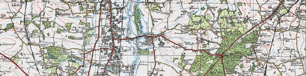 Old map of Waltham Abbey in 1920