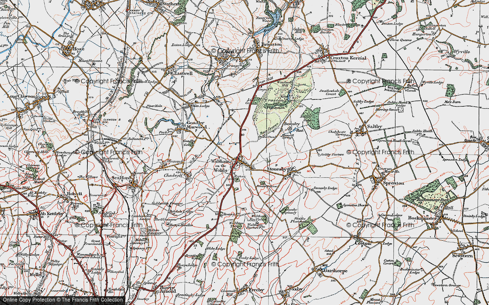 Old Map of Historic Map covering Lings Covert in 1921