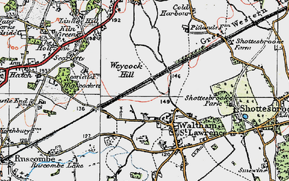 Old map of Waltham St Lawrence in 1919