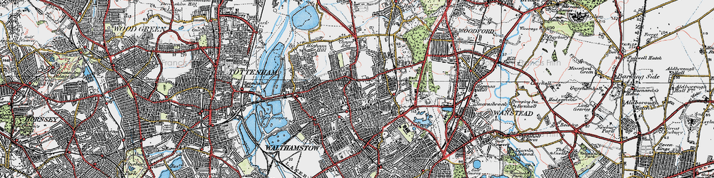 Old map of Walthamstow in 1920