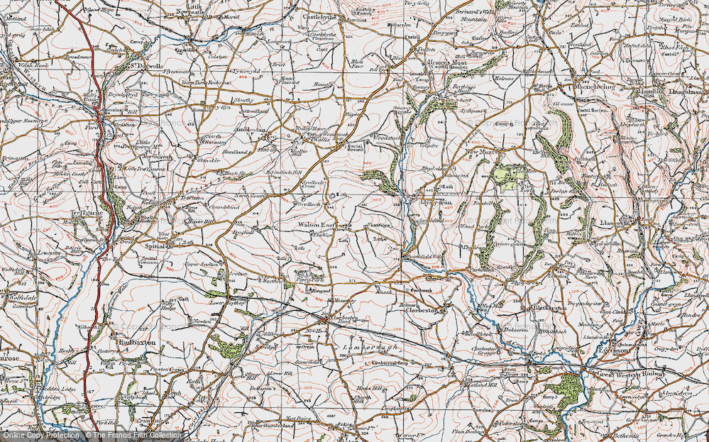 Old Map of Historic Map covering Afon Syfynwy in 1922