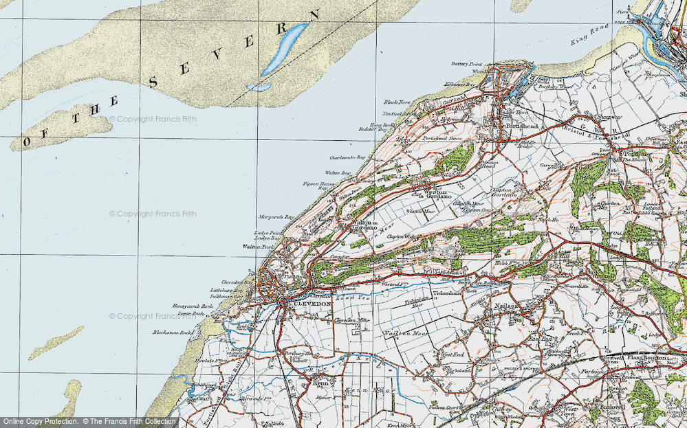 Old Map of Historic Map covering Walton Bay in 1919