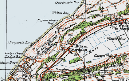 Old map of Walton in Gordano in 1919
