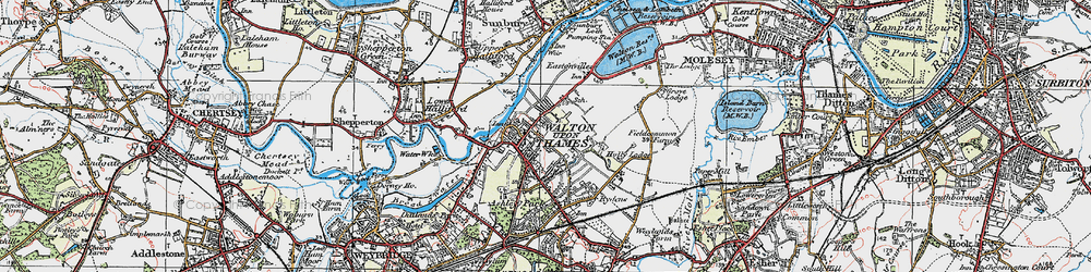 Old map of Walton-on-Thames in 1920