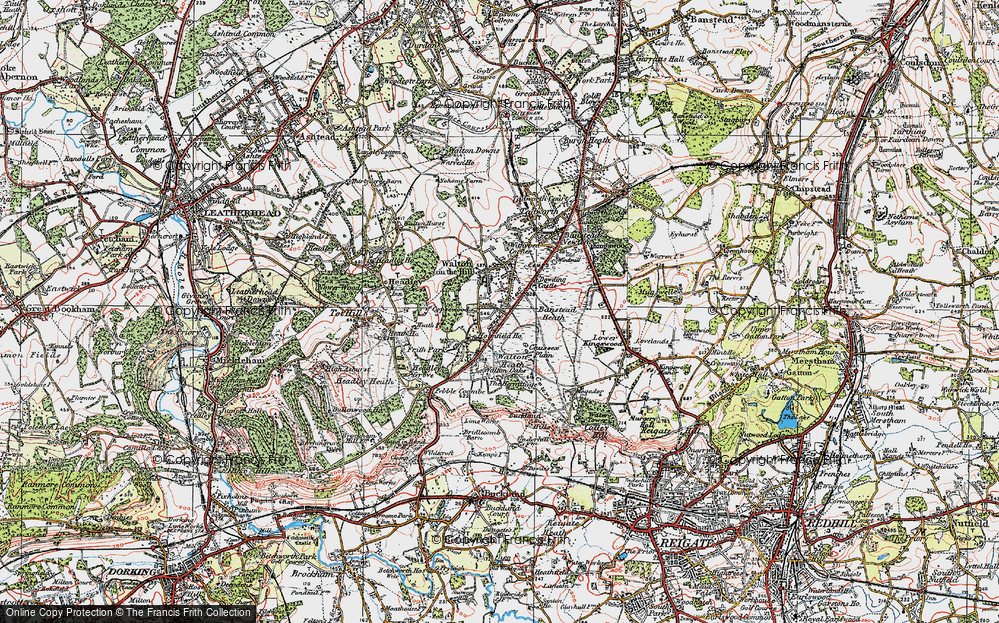 Old Map of Historic Map covering Banstead Heath in 1920