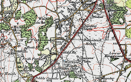 Old map of Banstead Heath in 1920