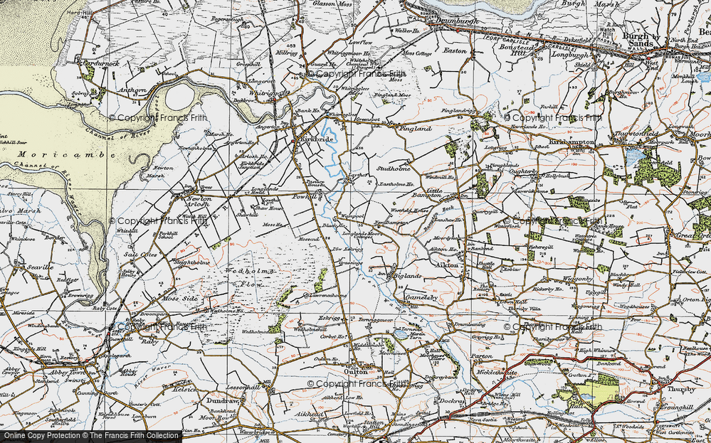 Old Map of Historic Map covering Laythes, The in 1925