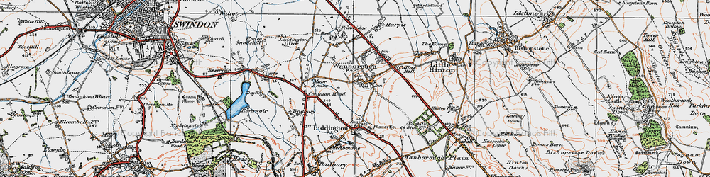 Old map of Wanborough in 1919