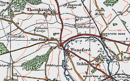 Old map of Wansford in 1922